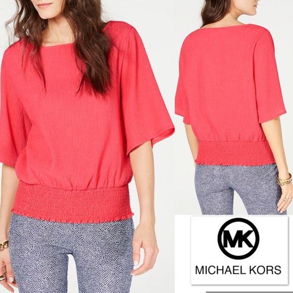 MICHAEL Michael Kors Tops - Michael KORS Top in Melon Textured w Smocked Hem